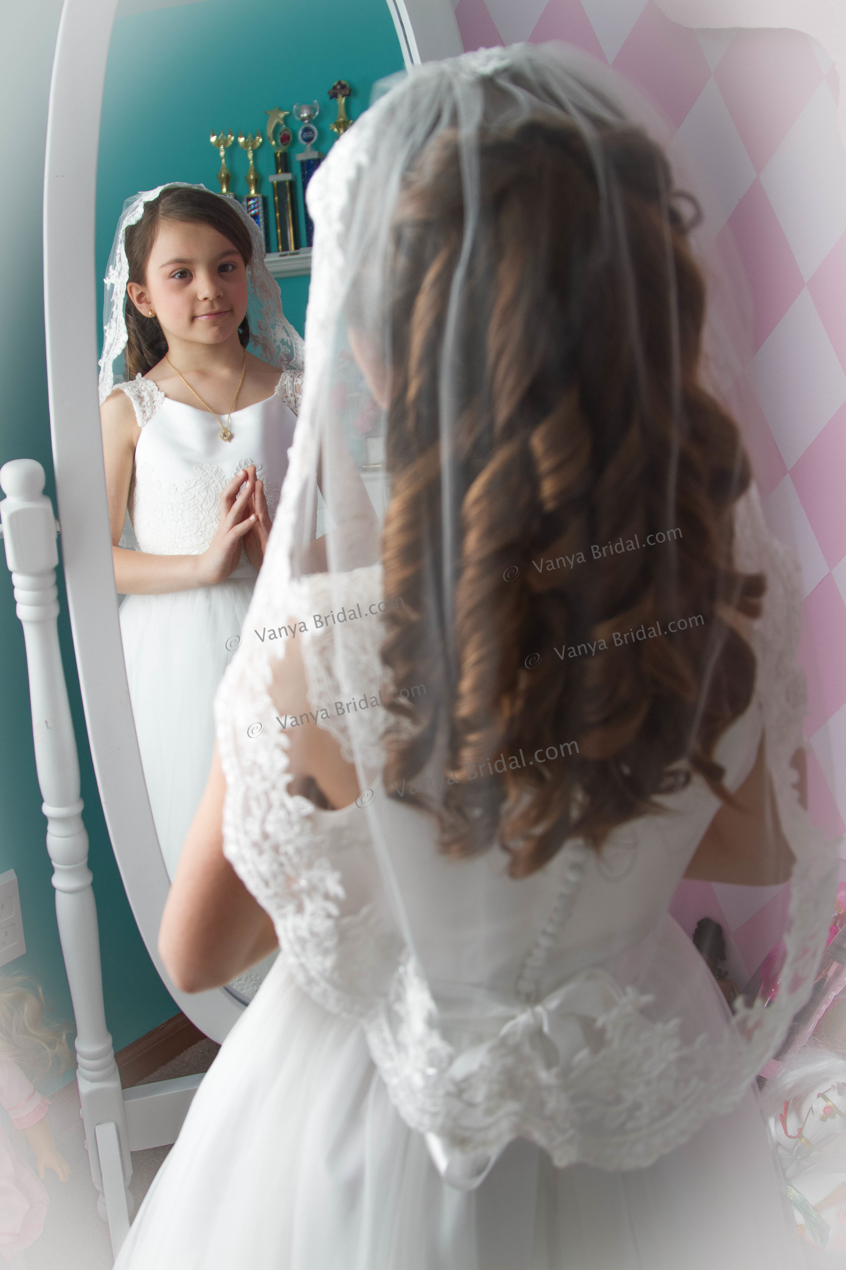 First Holly Communion veil with beaded lace edge design - Communion Hairstyles